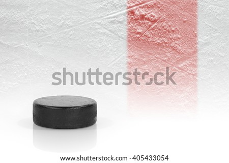 Washer at the red line on the hockey rink. Texture, background, concept - stock photo