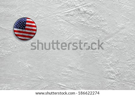 Washer with the image of the American flag on a hockey rink - stock photo
