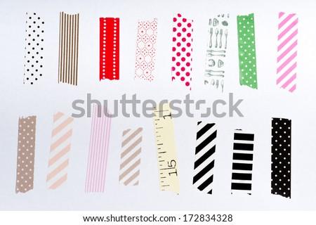 Washi tape, masking tape pieces, Isolated, white background. - stock photo