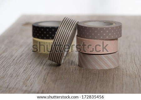 Washi tape rolls masking tape rolls stock photo 172835456 washi tape rolls masking tape rolls in pile on wooden bench six tape rolls mozeypictures Gallery
