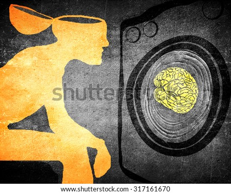 washing brain illustration concept - stock photo