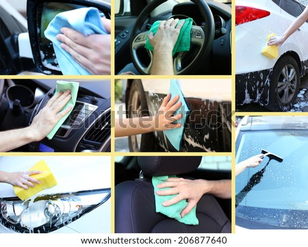 Washing car collage - stock photo