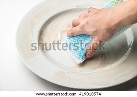 washing dish - stock photo