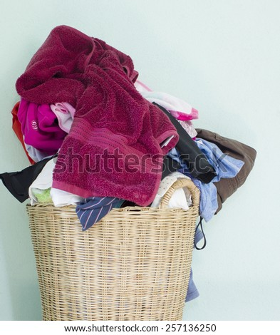 washing fabric in the basket - stock photo