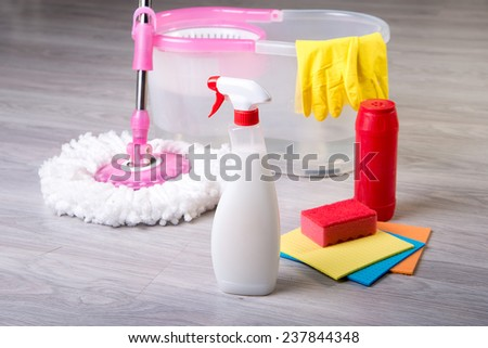 washing floors, cleaning the apartment - stock photo