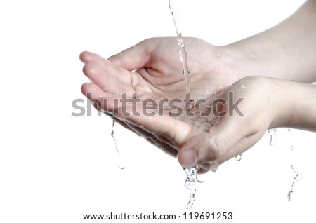 washing hand with clean water