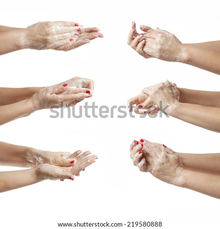 Washing hands, Close up of hands with soap in different positions on white - stock photo