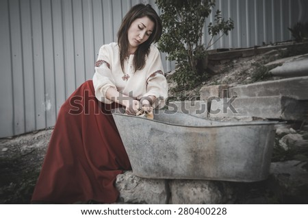 washing in antique - stock photo