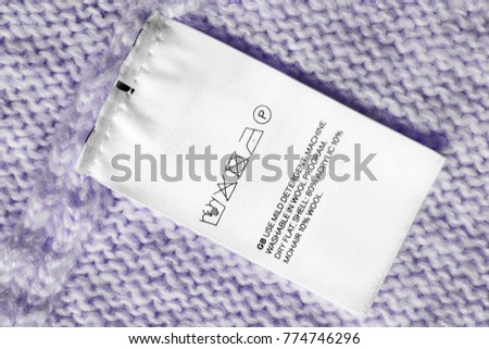 Washing Instructions Fabric Composition Clothes Label Stock Photo