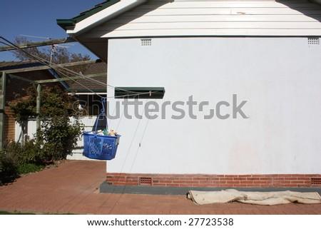 Washing line in backyard - stock photo