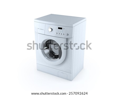 Washing machine 3d render isolated on white background.
