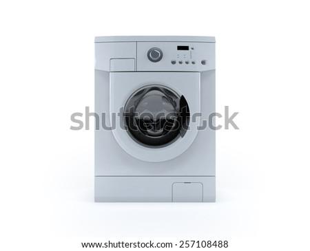 Washing machine 3d render isolated on white background.  - stock photo