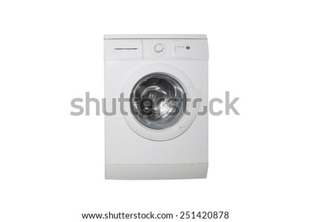 washing machine isolated on a white background - stock photo