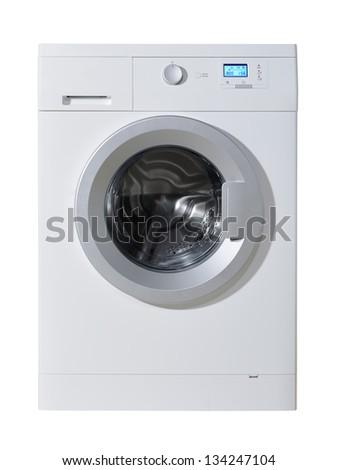Washing machine isolated on the white background - stock photo
