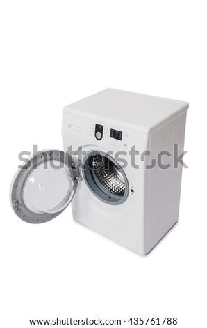Washing machine isolated on white background - stock photo