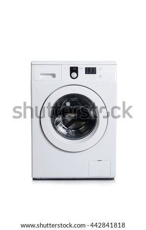 Washing machine isolated on white background - stock photo