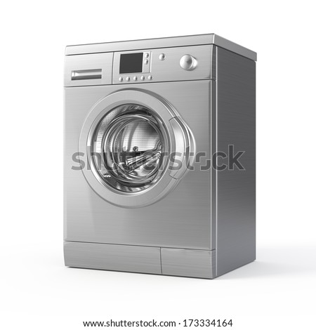 Washing machine isolated on white - 3d render - stock photo