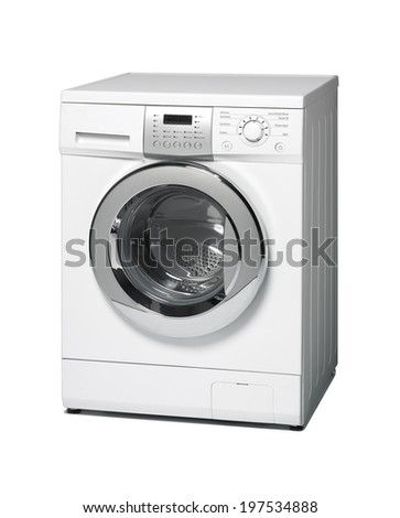 Washing machine isolated on white. Vertical format - stock photo