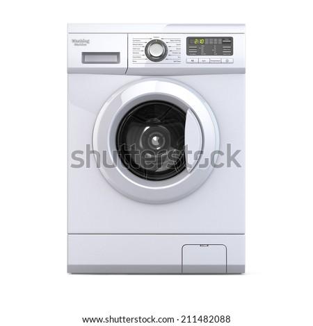 Washing machine on white isolated background. 3d - stock photo