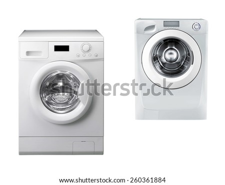 Washing machines isolated over white