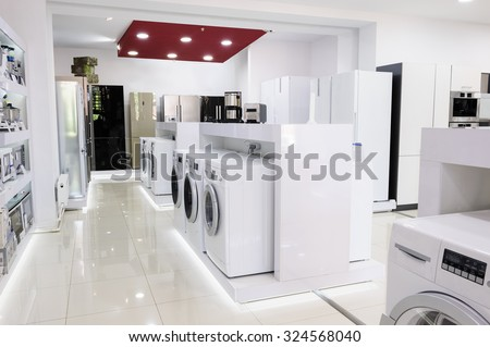 Washing machines, refrigerators and other home related appliance or equipment in the retail store