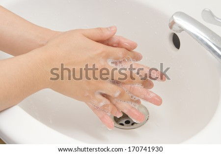 Washing of hands with soap ,hand  hygiene - stock photo