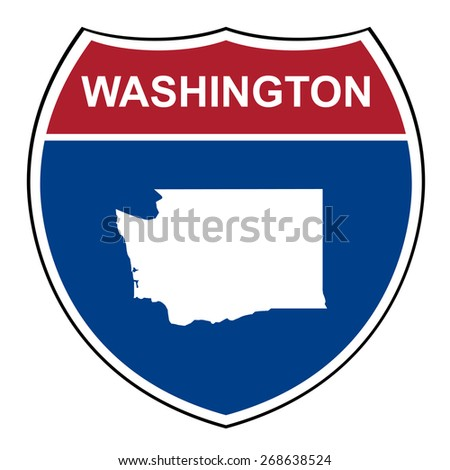 Washington American interstate highway road shield isolated on a white background. - stock photo