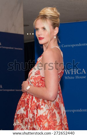 WASHINGTON APRIL 25 â?? A pregnant Anne V arrives at the White House Correspondentsâ?? Association Dinner April 25, 2015 in Washington, DC  - stock photo