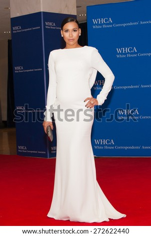 WASHINGTON APRIL 25 â?? A pregnant Naya Rivera arrives at the White House Correspondentsâ?? Association Dinner April 25, 2015 in Washington, DC - stock photo