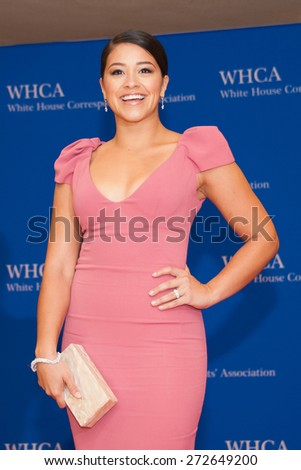 WASHINGTON APRIL 25 â?? Actress Gina Rodriguez arrives at the White House Correspondentsâ?? Association Dinner April 25, 2015 in Washington, DC  - stock photo