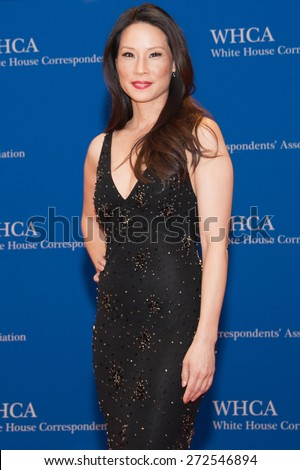 WASHINGTON APRIL 25 â?? Actress Lucy Liu arrives at the White House Correspondentsâ?? Association Dinner April 25, 2015 in Washington, DC - stock photo