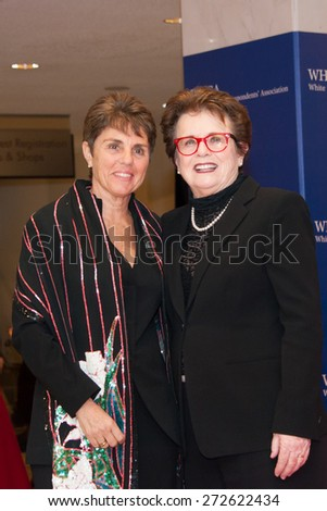 WASHINGTON APRIL 25 â?? Billie Jean King and Ilana Kloss arrive at the White House Correspondentsâ?? Association Dinner April 25, 2015 in Washington, DC - stock photo