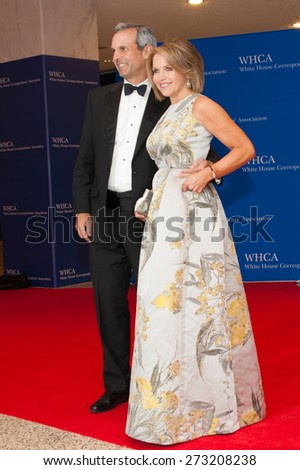 WASHINGTON APRIL 25 Katie Couric and husband John Molner arrive at the White House Correspondents Association Dinner April 25, 2015 in Washington, DC  - stock photo