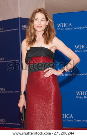 WASHINGTON APRIL 25  Michelle Monaghan arrives at the White House Correspondents Association Dinner April 25, 2015 in Washington, DC  - stock photo