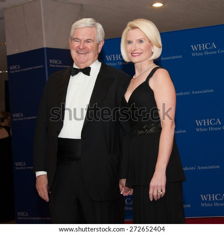 WASHINGTON APRIL 25 â?? Newt Gingrich and wife Callista arrive at the White House Correspondentsâ?? Association Dinner April 25, 2015 in Washington, DC  - stock photo