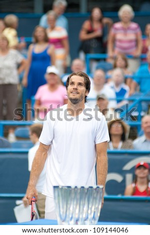 WASHINGTON - AUG 1: Tommy Haas (GER) smiles after his win over Leonardo Mayer (ARG, not pictured) at the Citi Open tennis tournament on August 1, 2012 in Washington.