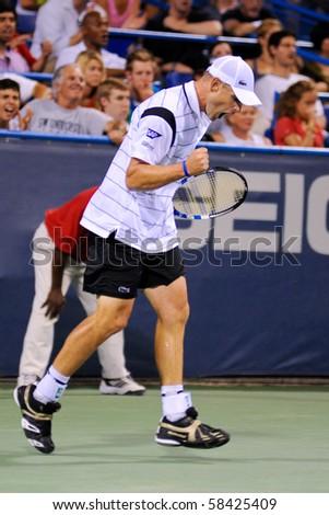 WASHINGTON - AUGUST 3: Andy Roddick (USA) defeats Grega Zemlja (SLO, not pictured) at the Legg Mason Tennis Classic on August 3, 2010 in Washington. - stock photo