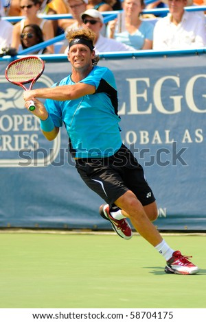 WASHINGTON - AUGUST 8: David Nalbandian (ARG) defeats Marcos Baghdatis (CYP, not pictured) to win the Legg Mason Tennis Classic on August 8, 2010 in Washington.