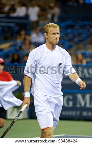WASHINGTON - AUGUST 4: Dmitry Tursunov (RUS) is defeated by Wimbledon finalist Tomas Berdych (CZE) in second round action at the Legg Mason Tennis Classic on August 4, 2010 in Washington.