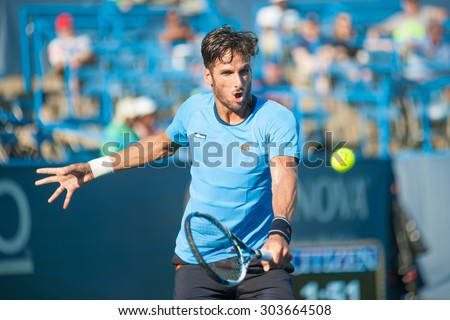 WASHINGTON - AUGUST 5: Feliciano Lopez (ESP) defeats Lleyton Hewitt (AUS, not pictured) at the Citi Open tennis tournament on August 5, 2015 in Washington DC   - stock photo