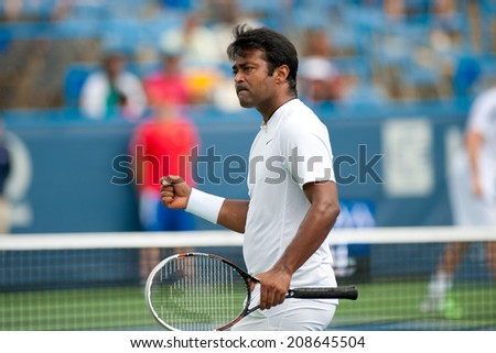 WASHINGTON  AUGUST 2: Leander Pays (IND) during his doubles semifinal match with Sam Groth (AUS, not pictured) at the Citi Open tennis tournament on August 2, 2014 in Washington DC  - stock photo