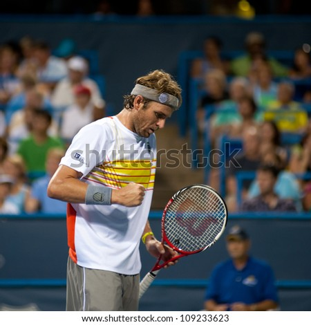 WASHINGTON - AUGUST 2: Mardy Fish (USA) defeats Ricardas Berankis (LTU, not pictured) at the Citi Open tennis tournament on August 2, 2012 in Washington.