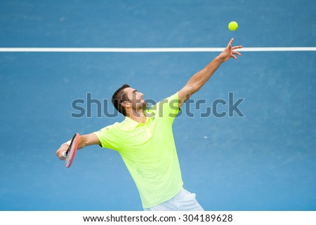 WASHINGTON - AUGUST 7: Marin Cilic (CRO) defeats Alexander Zverev (GER, not pictured) at the Citi Open tennis tournament on August 7, 2015 in Washington DC - stock photo