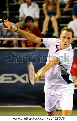 WASHINGTON - AUGUST 3: Michael Llodra (FRA) is defeated by Ryan Sweteing (USA, not pictured) at the Legg Mason Tennis Classic on August 3, 2010 in Washington. - stock photo