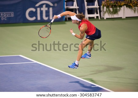 WASHINGTON â?? AUGUST 8: Samantha Stosur (AUS) falls to Sloane Stephens (USA, not pictured) in the semifinal round of the Citi Open tennis tournament on August 8, 2015 in Washington DC