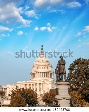 Washington Capitol on a beautiful summer sunset. - stock photo