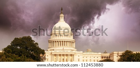 Washington Capitol with Dramatic Sky, U.S.A. - stock photo
