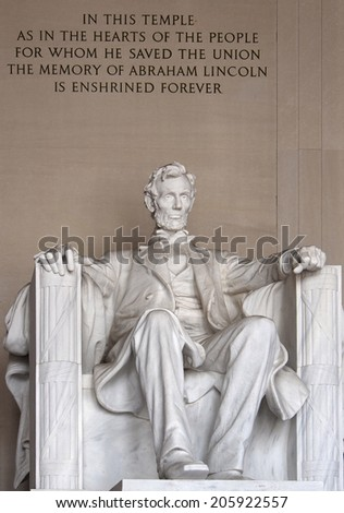 WASHINGTON - CIRCA JUNE 2014:   The Lincoln Memorial is a national shrine to the man who presided over the most trying events in American history.