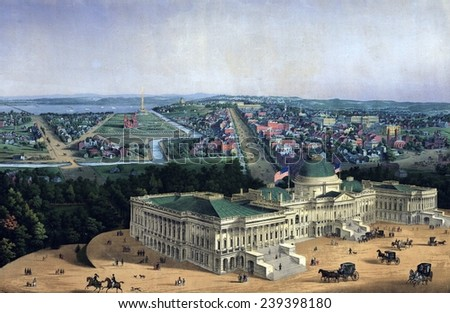 Washington D.C. and U.S. Capitol, looking west toward the Mall and Pennsylvania Avenue, 1856. - stock photo
