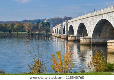 Washington D.C., Arlington Memorial Bridge with reflection on Potomac River - United States of America - stock photo